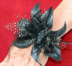 Black Wrist Corsage - Hand Made Wrist Corsage | Masks and Tiaras